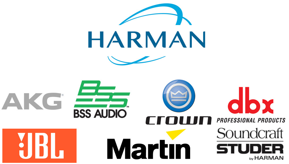 Harman, AKG, BSS Audio, Crown, dbx, JBL, Martin, Soundcraft Studer